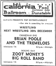 Advert for Zoot Money at the California Ballroom